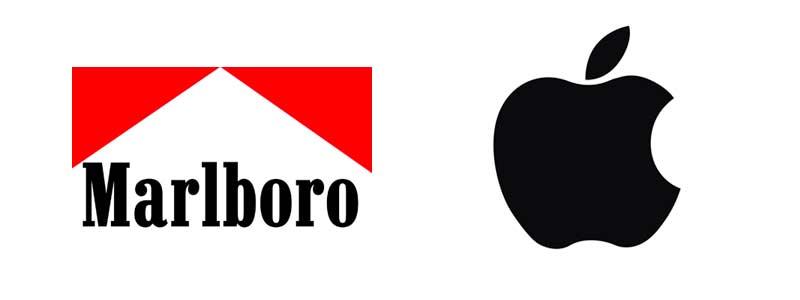 Logotypy marek: Marlboro i Apple