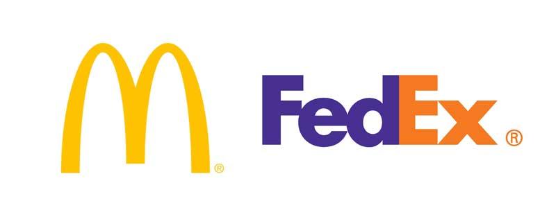 Logotypy marek: McDonalds i FedEx